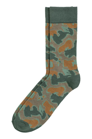 Patterned socks - Khaki green/Brown - Men | H&M CN 1