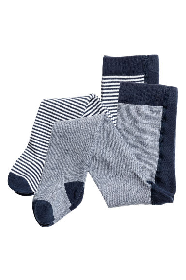 2-pack tights - Dark blue/Striped - Kids | H&M CN 1