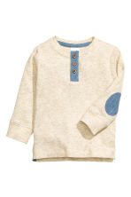 Long-sleeved Henley shirt - Light beige marl - Kids | H&M CN 1