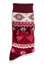 2-pack wool-blend socks - Dark red/Patterned - Ladies | H&M GB 2