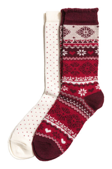 2-pack wool-blend socks - Dark red/Patterned - Ladies | H&M GB