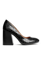 Crocodile-pattern court shoes - Black - Ladies | H&M CN 1