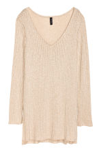 Knitted jumper with side slits - Beige - Ladies | H&M GB 2