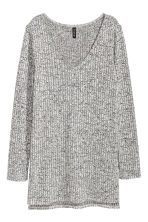Knitted jumper with side slits - Black marl - Ladies | H&M CN 2