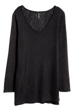 Knitted jumper with side slits - Black - Ladies | H&M CN 2