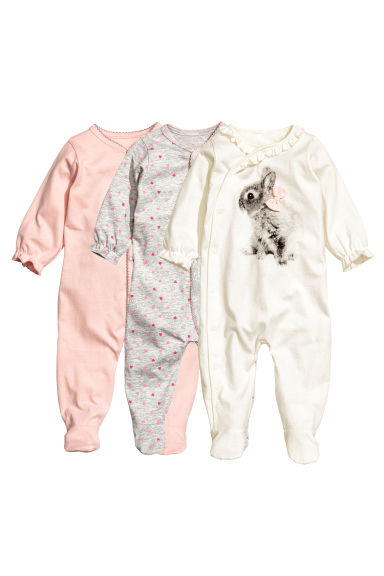 3-pack all-in-one pyjamas - Natural white/Rabbit - Kids | H&M CN 1