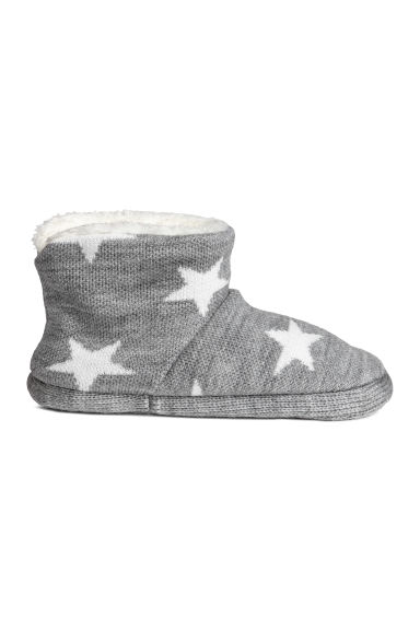 Jacquard-knit slippers - Grey/Stars - Kids | H&M CN 1