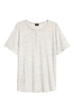 Short-sleeved Henley shirt - Light grey marl - Men | H&M CN 2