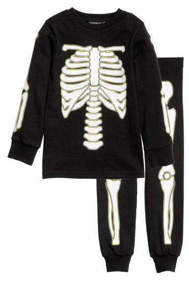 Jersey pyjamas - Black/Skeleton - Kids | H&M CN 1