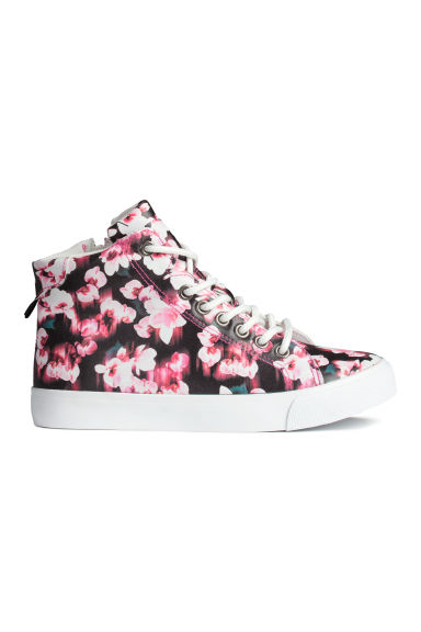 Hi-top trainers - Black/Floral - Kids | H&M CN 1