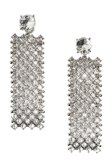 Sparkly stone earrings - Silver - Ladies | H&M CA