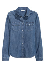 Fitted denim shirt - Denim blue - Ladies | H&M CN 2