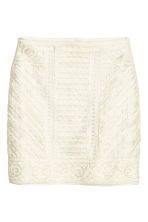 Tape-embroidered skirt - Natural white - Ladies | H&M CN 2