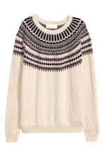 Jacquard-knit jumper - Light beige/Pattern -  | H&M GB 2
