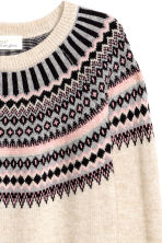 Jacquard-knit jumper - Light beige/Pattern -  | H&M GB 3