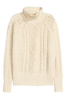 Cable-knit polo-neck jumper