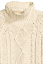 Cable-knit polo-neck jumper - Natural white -  | H&M CN 3