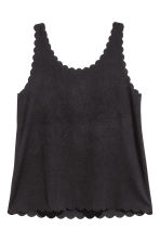 Vest top with scalloped edges - Black - Ladies | H&M CA 5
