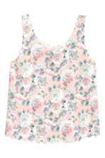 Vest top with scalloped edges - Powder pink/Floral - Ladies | H&M CN 2