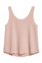 Vest top with scalloped edges - Powder pink - Ladies | H&M CN 2