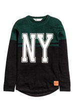 Knitted cotton jumper - Black/New York - Kids | H&M CN 2