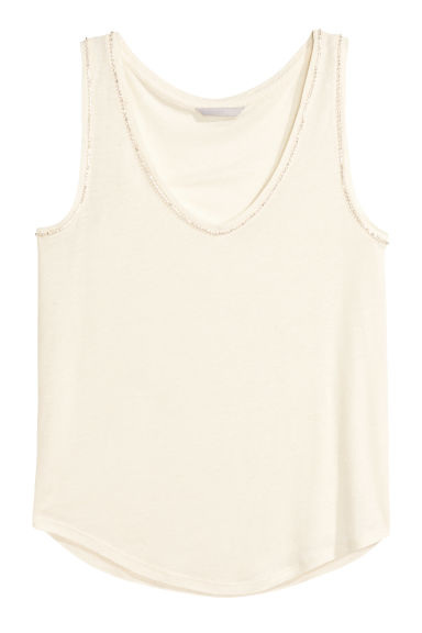 Vest top with sparkly stones - Natural white - Ladies | H&M CN 1