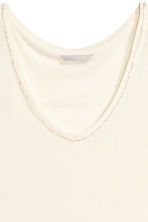 Vest top with sparkly stones - Natural white - Ladies | H&M CN 2