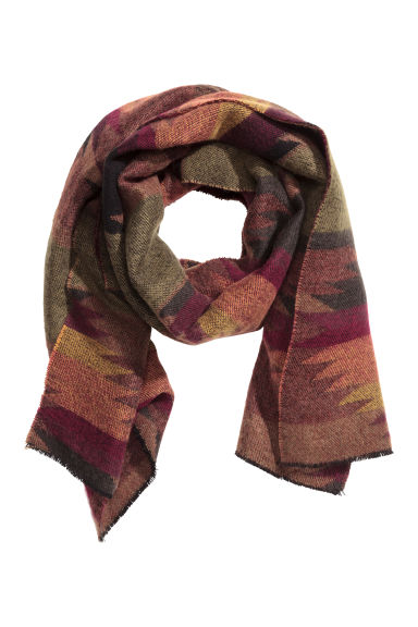 Jacquard-weave scarf - Burgundy/Patterned - Men | H&M CN 1