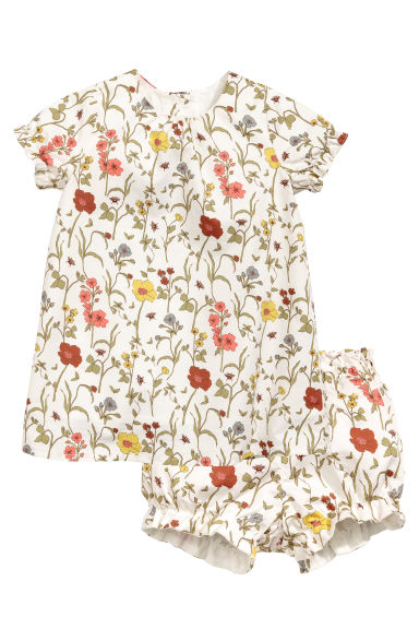 Cotton dress with puff pants - Natural white - Kids | H&M CN 1