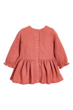 Double-weave cotton dress - Rust red - Kids | H&M CN 2