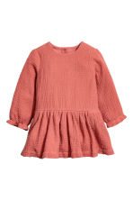 Double-weave cotton dress - Rust red - Kids | H&M CN 1