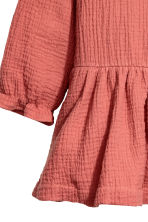 Double-weave cotton dress - Rust red - Kids | H&M CN 3