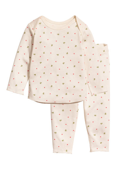 Top and leggings - Natural white/Floral - Kids | H&M CN 1