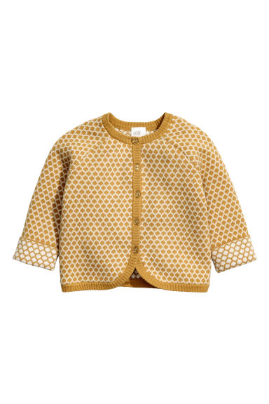 Jacquard-knit cardigan - Mustard yellow - Kids | H&M CN 1