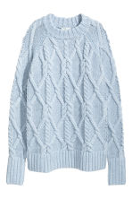 Cable-knit jumper - Light blue -  | H&M GB 2