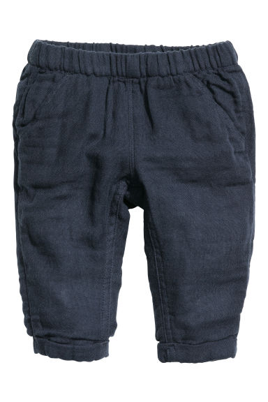 Double-weave cotton trousers - Dark blue - Kids | H&M CN 1