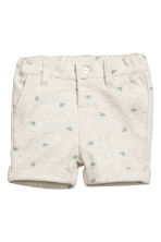 Patterned jersey shorts - Light beige marl - Kids | H&M CN 1