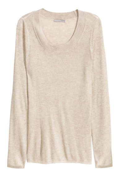 Ribbed jumper - Light beige marl -  | H&M CN 1