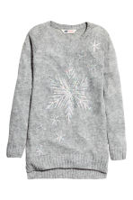Knitted jumper with sequins - Grey marl - Kids | H&M CN 2