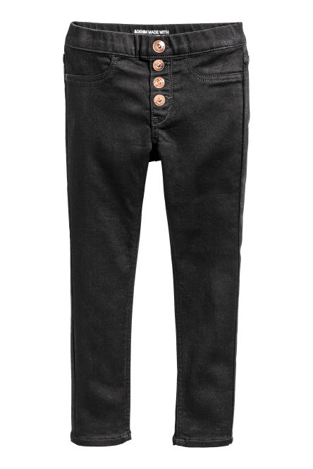 Denim legging met knopen