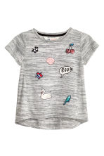 Top with appliqués - Grey marl - Kids | H&M CN 2