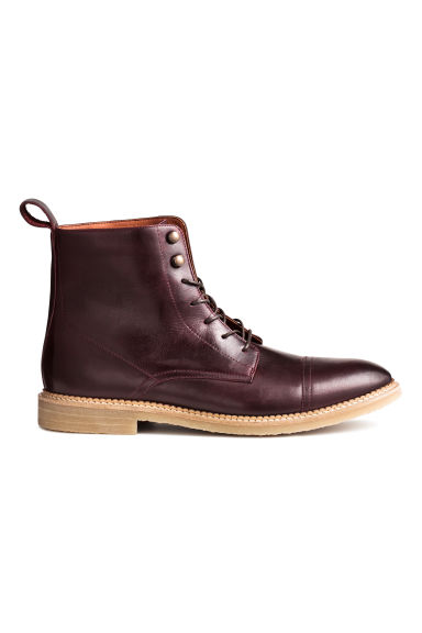 Leather boots - Burgundy -  | H&M CN 1