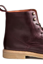 Leather boots - Burgundy -  | H&M CN 4