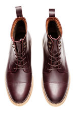 Leather boots - Burgundy -  | H&M CN 2