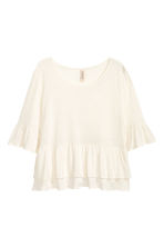 Flounced linen-blend top - Natural white - Ladies | H&M CN 4