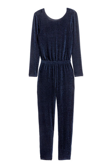 Glittery jumpsuit - Dark blue/Glitter - Ladies | H&M CN 1