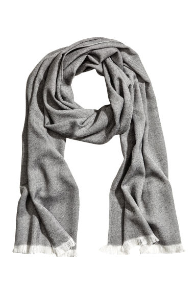 Herringbone-patterned scarf - Dark grey - Men | H&M