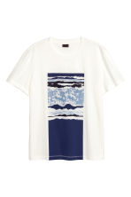 T-shirt with a motif - White/Dark blue - Men | H&M CN 2