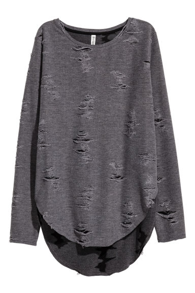 刷破上衣 - Dark grey - Ladies | H&M