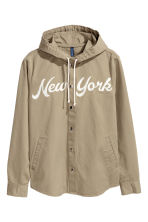 Shirt jacket with a hood - Khaki green/New York - Men | H&M CN 2